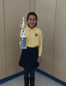 Scholar Vaishnavi Vaijaeepay with her trophy!