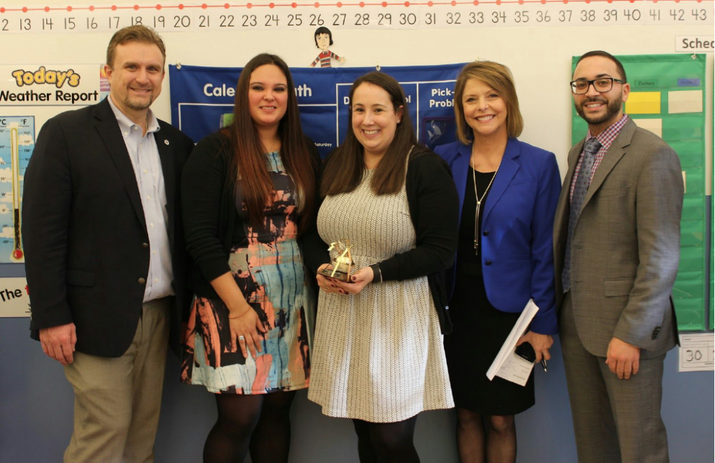 From left to right: BVP Executive Director Jeremy Chiappetta, nominating parent Krystal Vasquez, teacher Casey Rainha, NBC10 anchor Patrice Wood, and ES1 Head of School Kyle Quadros.