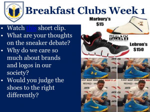 Breakfast Clubs Week 1 flyer on the sneaker debate