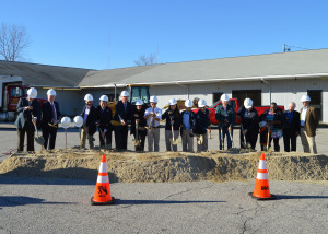 Groundbreaking attendees breaking ground on BVP High School