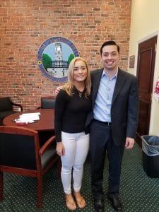 BVP scholar Gladis Ricuarte posing with Mayor James Diossa during City Hall Internship
