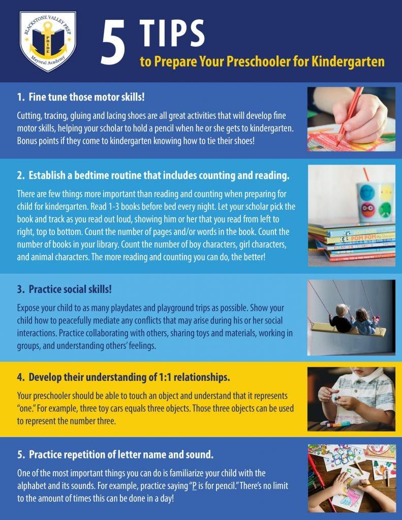5 Tips to Prepare Your Preschooler for Kindergarten Graphic
