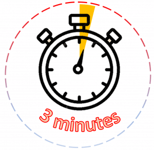Clip art of an alarm clock with the words 3 minutes