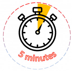 Clip art of an alarm clock with the words 5 minutes