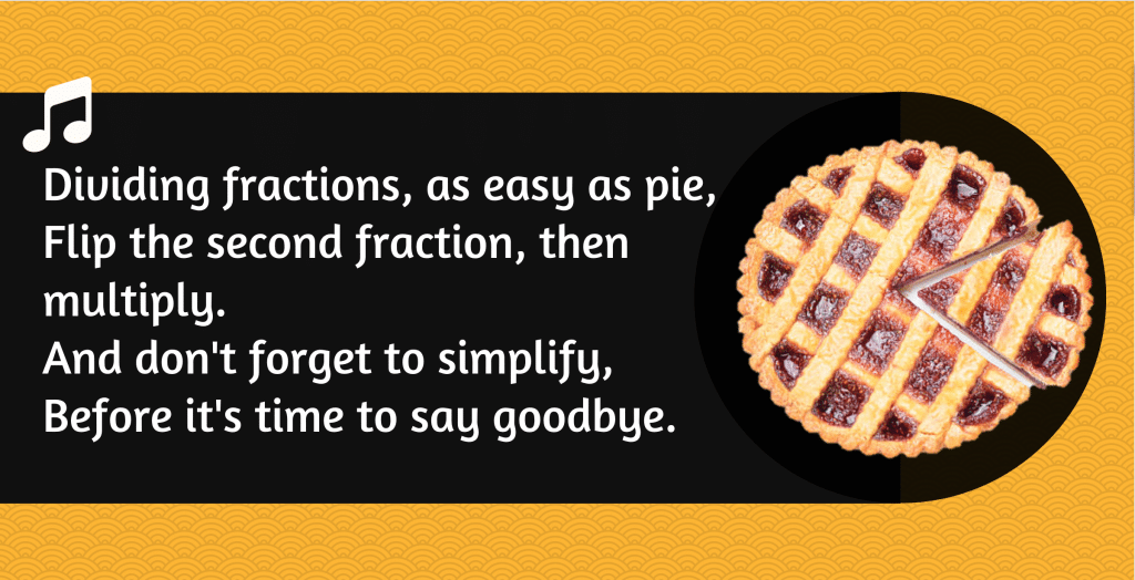 Mnemonic for remembering how to divide fractions.