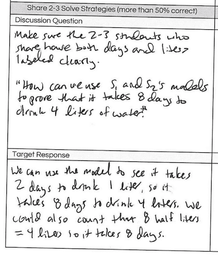 Handwritten text from students showing flexible thinking.