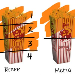 A visual representation of two popcorn boxes: one divided in half and the other divided in fourths.