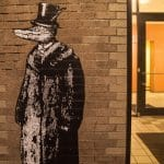 Alligator in a top hat mural