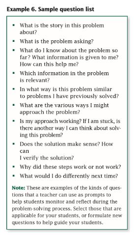 A sample list of questions for students to consider